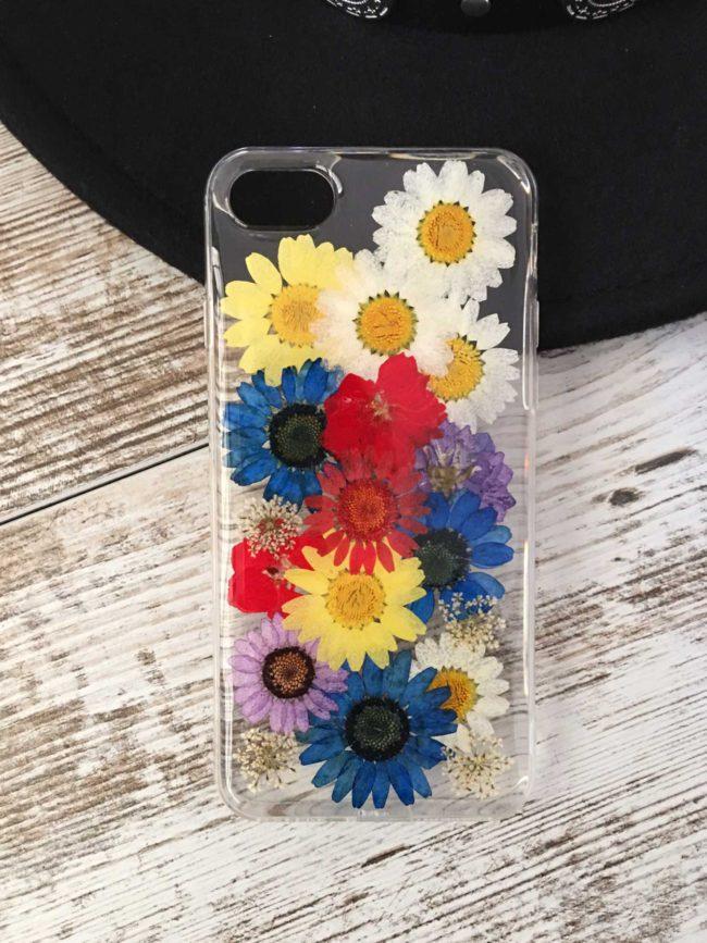 Funda para iPhone con flores secas, funda iPhone boho, funda iPhone flores preservadas, funda iPhone margaritas, funda de movil coachella, funda de movil con flores moradas
