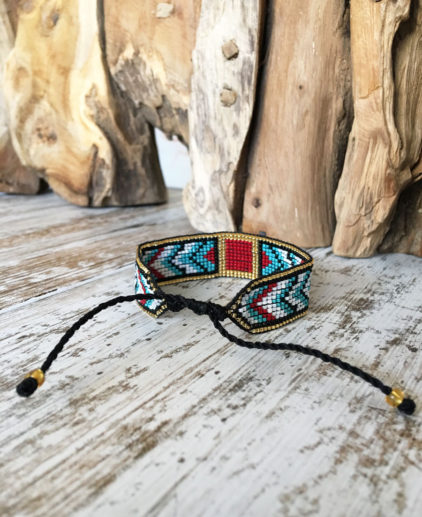 Pulsera de cuentas tejidas estilo nativo americano, pulsera vended boho, pulsera boho, pulsera festival, pulsera tejida, pulsera sioux, sioux bracelet, pulsera navajo, pulsera tejida a mano