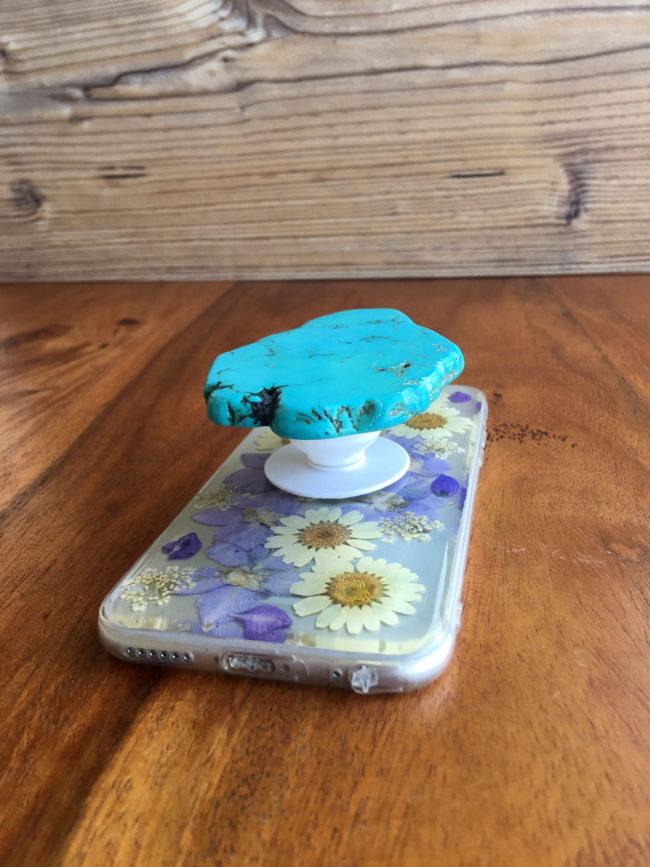 Soporte para Móvil con Lámina de Turquesa, turquoise sale phone gris, pop para iPhone, soporte pop para movil, accesorios de turquesa, soporte de turquesa para movil, soporte cowgirl para movil