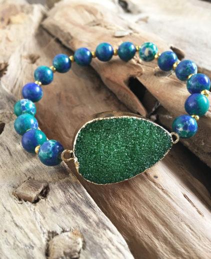 Pulsera Verde agua con Pieza Cristalizada, pulsera de ágata, pulsera drusa de amatista, pulsera perlas ágata piedra artista, druzzy bracelet, pulsera verde agua, pulsera verde, pulsera boho, pulsera bohochic