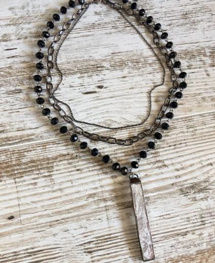 Collar Multicapa Florence, collar de cuentas de cristal, collar negro, collar de cristal, collar navidad, collar fiesta, accesorios de fiesta, moda festival, moda coachella