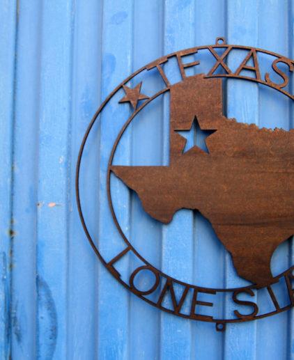 Silueta del estado de Texas Cortada en Metal, one star símbolo