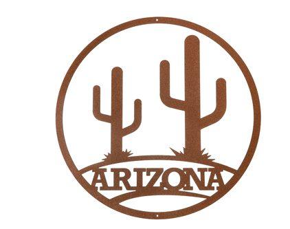 Placa Redonda de Arizona con Cactus Saguaros, ruta 66, route 66, música country
