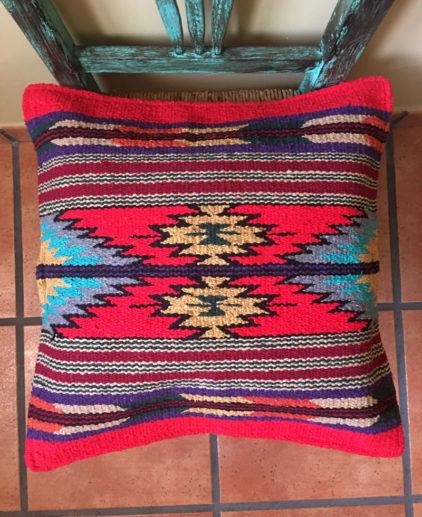 Funda de cojin Tribal Tejida a Mano Desert Carnival, funda de cojín bohochic, funda del suroeste americano, tejido tribal indio americano, decoración western, funda de cojin country, funda de cojin boho, estilo country, funda de cojin etnica roja
