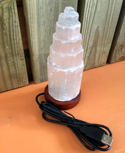 Lámpara de Selenita Luz Multicolor y Conexión USB, lámpara de selenita cable USB luz de colores, lámpara USB cambia color, meditación, yoga, limpieza de energías, feng sui
