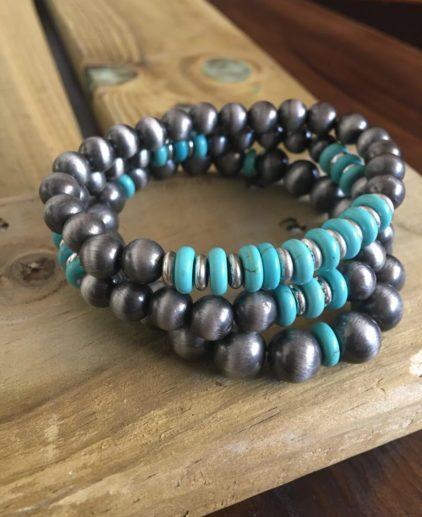 Pack de Pulseras Navajo Pearls, perlas navajo, pulsera turquesas, juego de pulseras, pack de tres pulseras, pulseras bohochic, pulseras nativo americanas, pulseras country, pulseras western