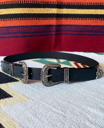 Cinturón dos hebillas negro Rodeo
