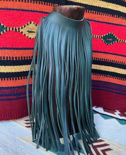 Collar de Flecos de Cuero Mohicano Verde Oscuro