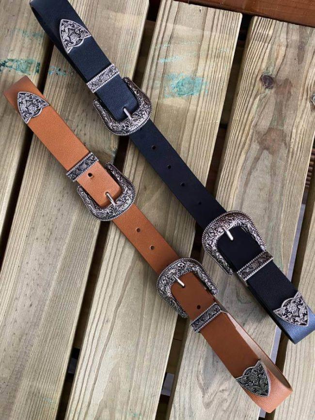 Cinturón dos hebillas camel Rodeo