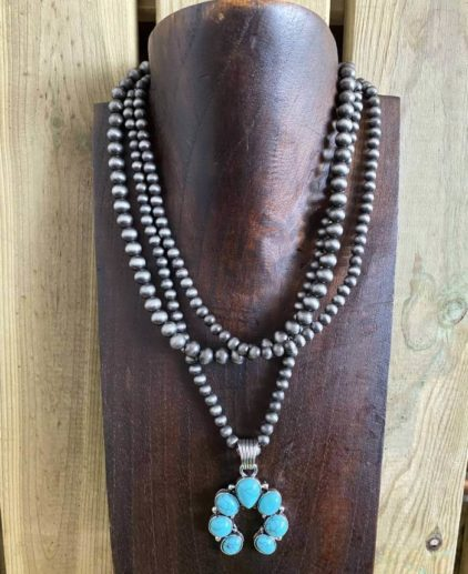 Collar Perlas Navajo y Naja Turquesa New México